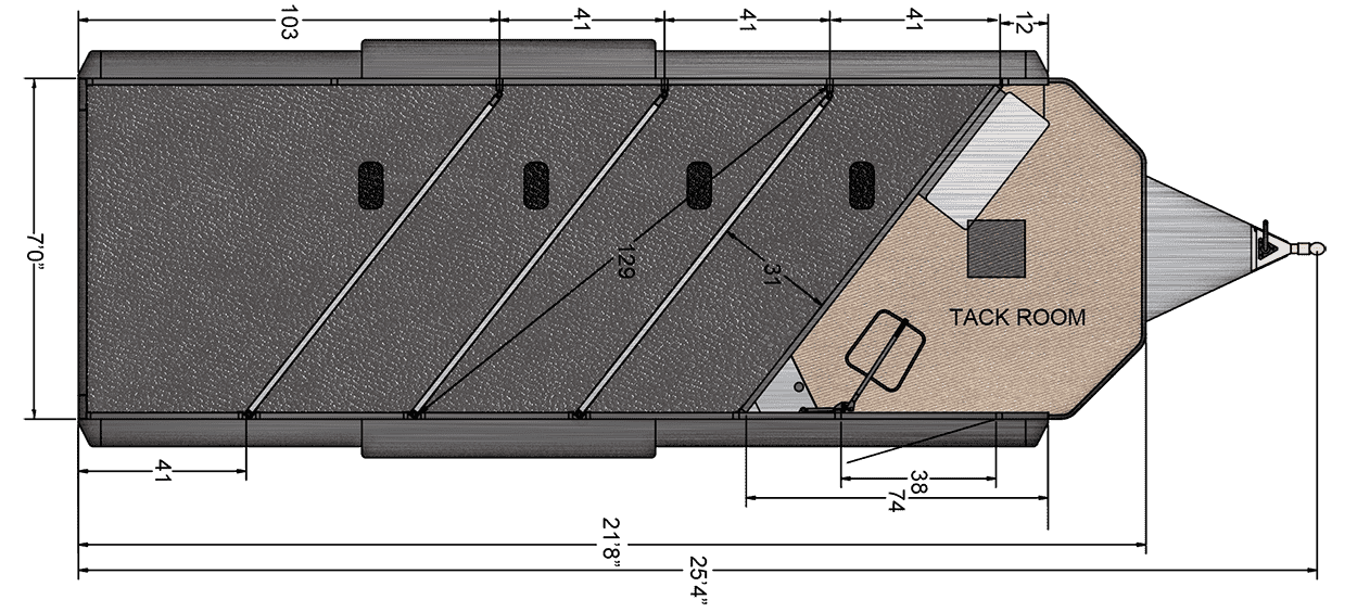 Floor Plan for  4 Horse Trailer